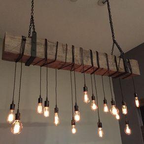 Reclaimed Barn Beam Chandelier Light Fixture Modern Rustic Restaurant Bar Lighting By