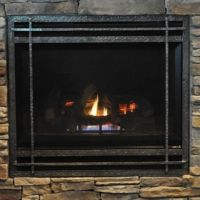 Hand Made Mission Style Gas Fireplace Cover by Ironhaus