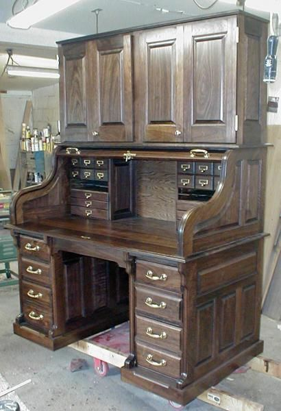 Handmade Clark Model Walnut Desk With Hutch by Roll Top