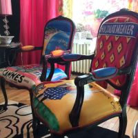 Custom Hand Painted And Upholstered Carved Berger Chairs ...