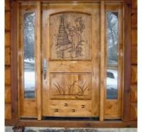 Handmade Custom Entry With Hand Carved Door Featuring A ...