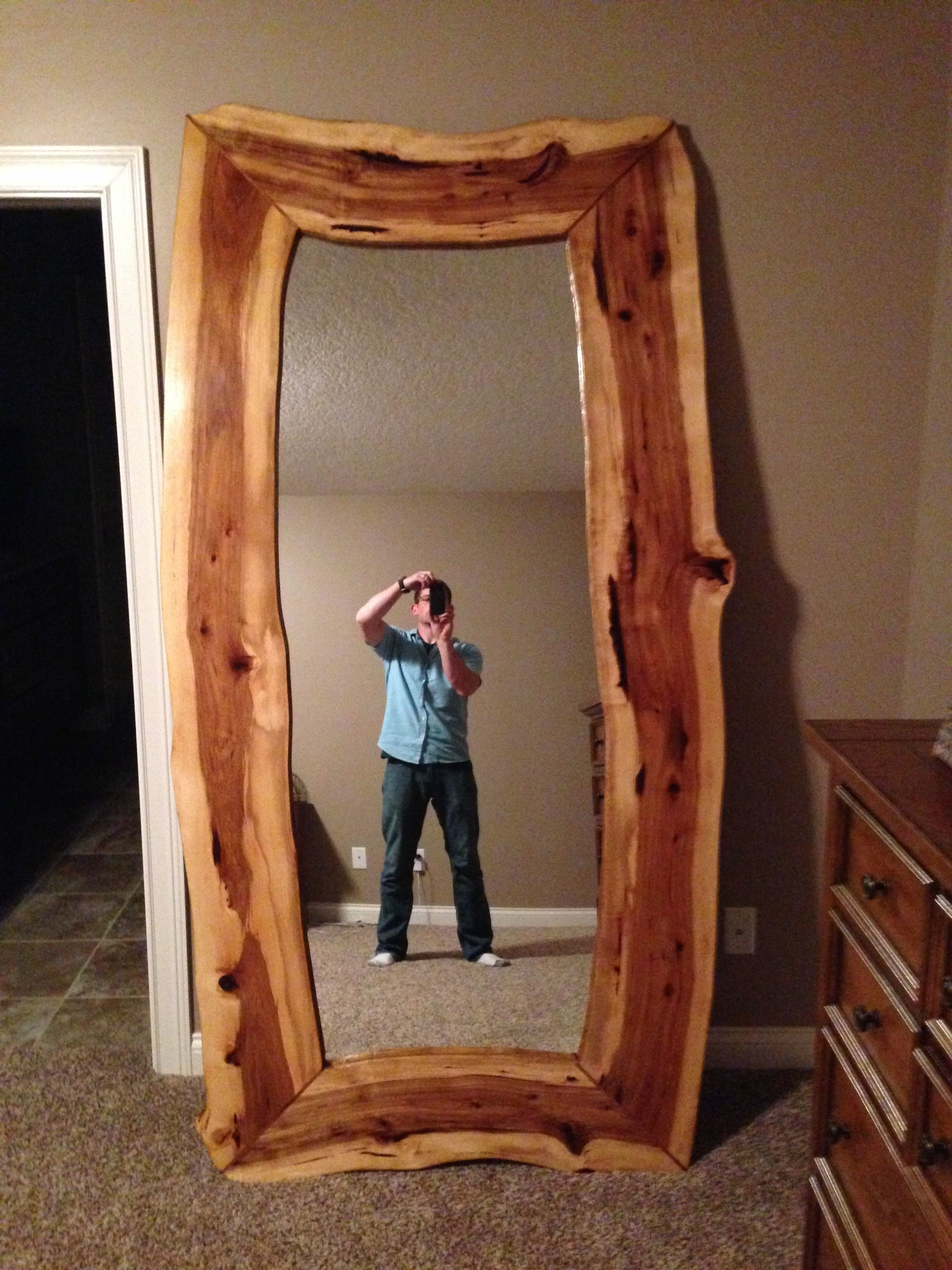 Custom Live Edge Hickory Mirror by Black Swamp Furnishings