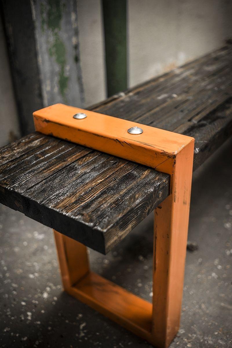 Hand Made Industrial Modern Bench By Anton Maka Designs