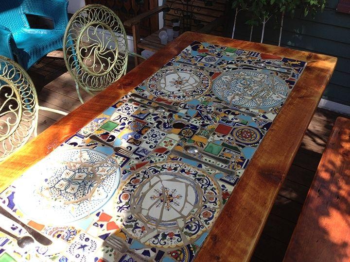 Custom Made Reclaimed Lumber Inlaid Mosaic Outdoor Patio