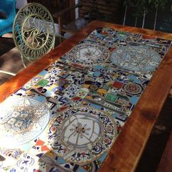 Farmhouse Kitchen Table With Bench Kohler Fairfax Faucet Custom Made Reclaimed Lumber Inlaid Mosaic Outdoor Patio ...