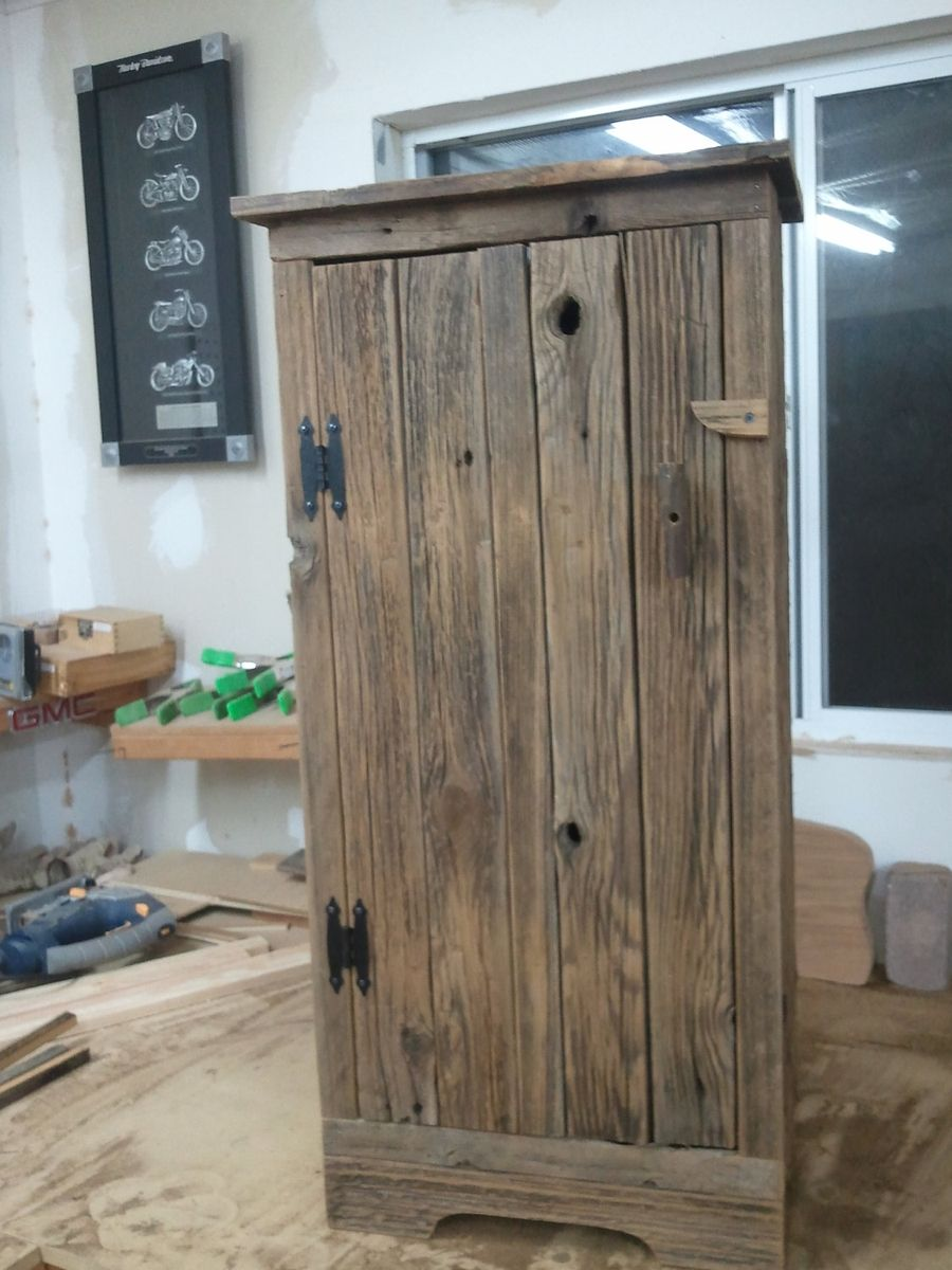 Handmade Aged Barnwood Jelly Storage Cabinet by