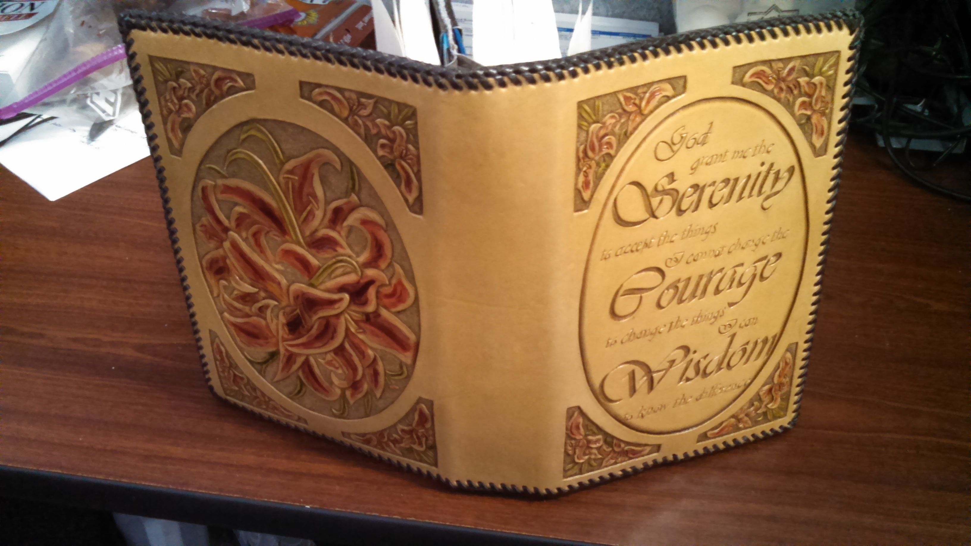 Hand Crafted Leather Aa Big Book Cover With Serenity
