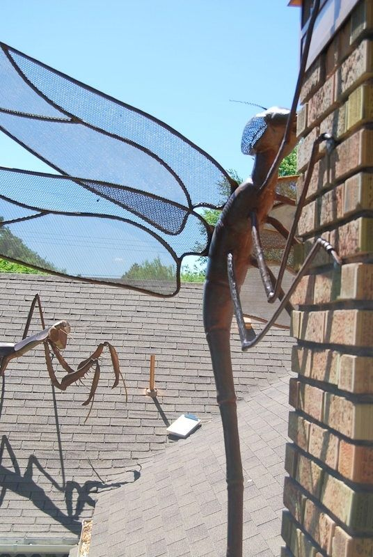 Hand Crafted Large Dragonfly Metal Sculpture By Jacob