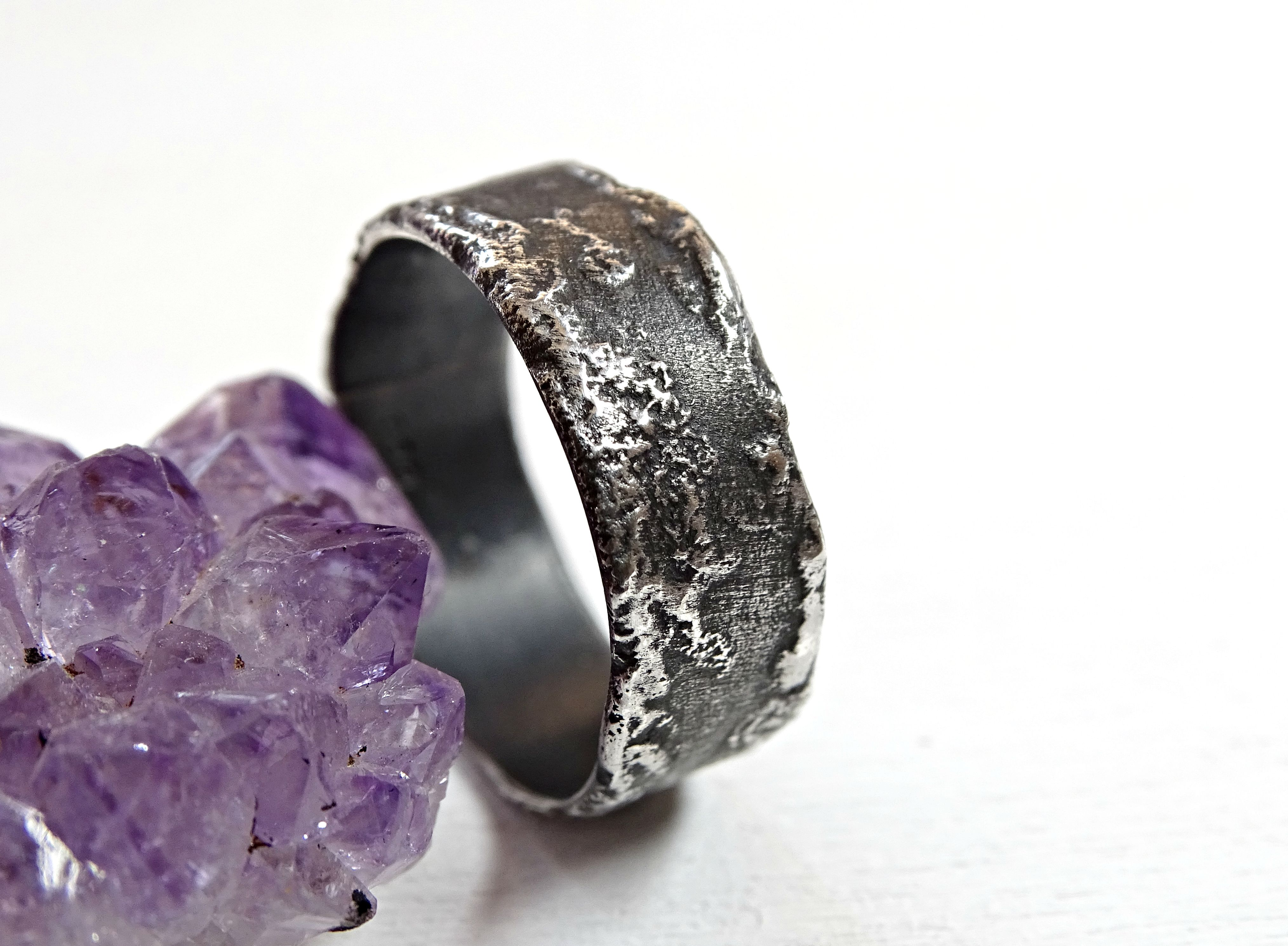 custom made unique silver ring molten surface cool mens band wedding band silver engagement ring