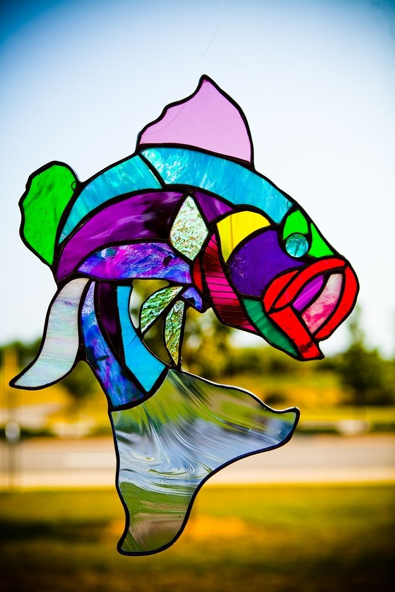 Buy a Custom MultiColored Largemouth Bass Stained Glass