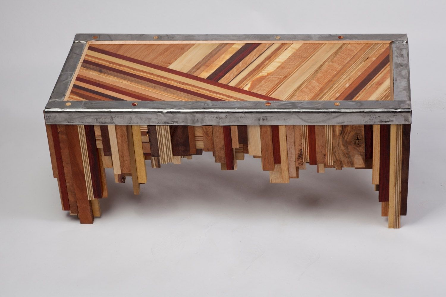 Hand Made Mixed Wood Table With Salvaged Steel Edging By