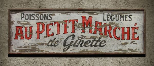Hand Crafted Vintage Sign Art French Market Nutmegger