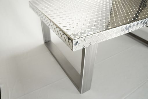 Hand Made Industrial Diamond Plate Metal Coffee Table by