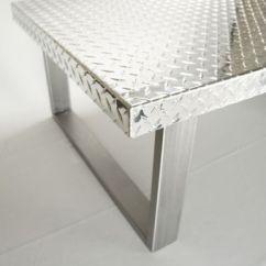 Mid Century Modern Living Room Lighting Furniture Bundles Hand Made Industrial Diamond Plate Metal Coffee Table By ...