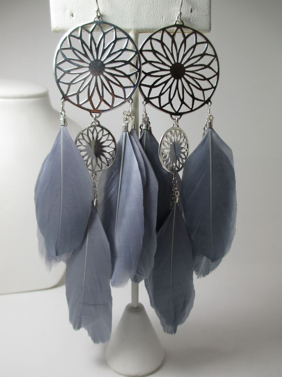 Hand Crafted Metal And Feather Dreamcatcher Earrings by