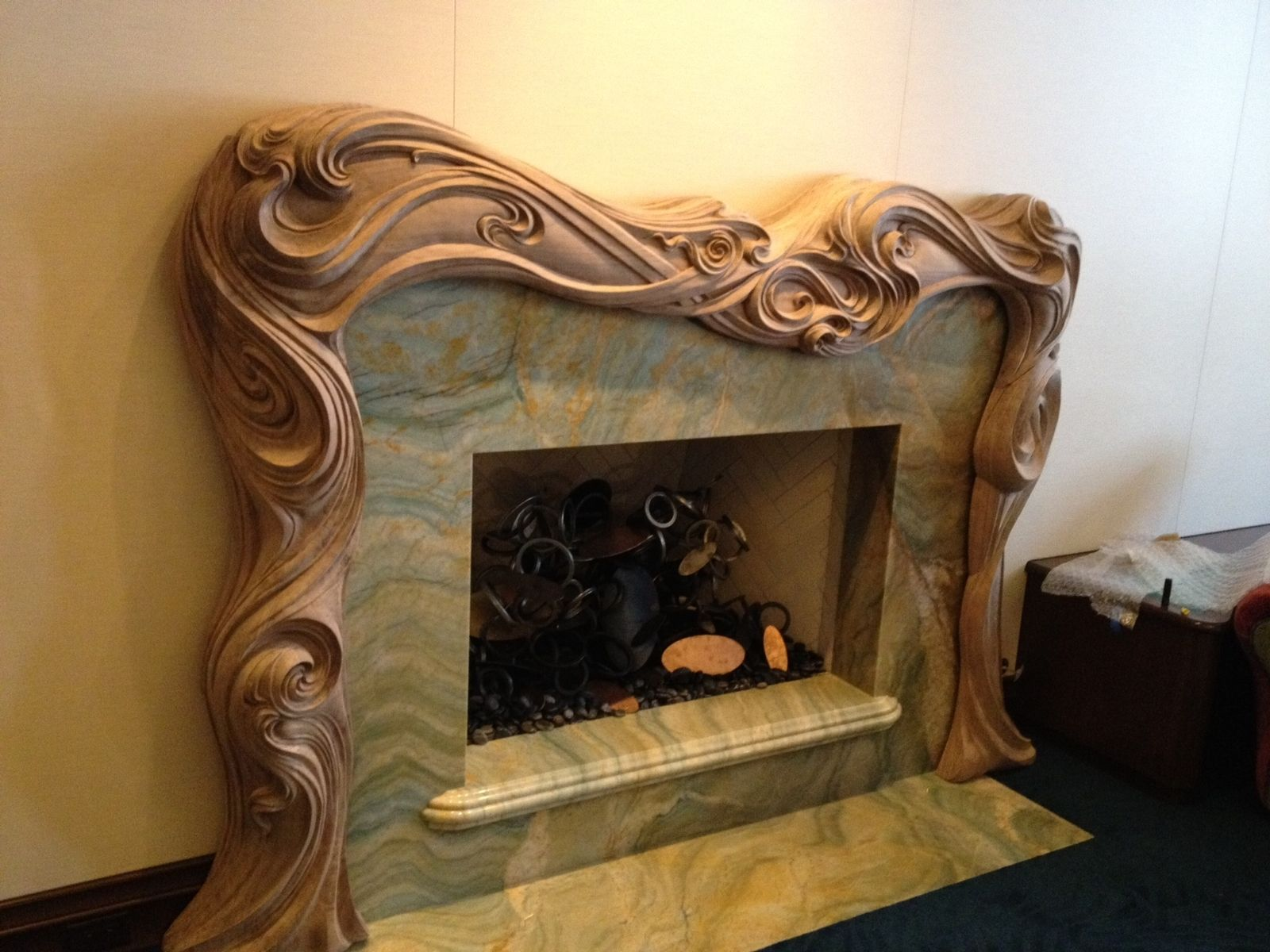 Custom Hand Carved Fire SurroundMantle by Wood CarvingMichael McConnell  CustomMadecom