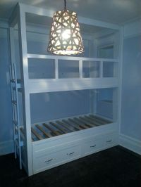 Hand Made Twin Over Twin Built-In Bunk Bed With Pop-Up ...