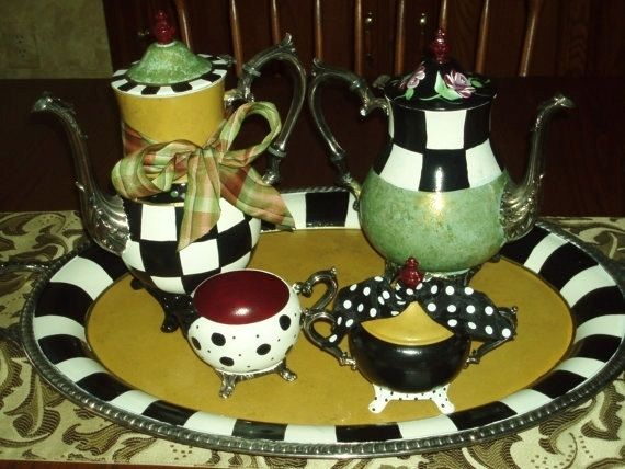 Hand Made Custom Hand Painted Silver Tea Sets Teapot