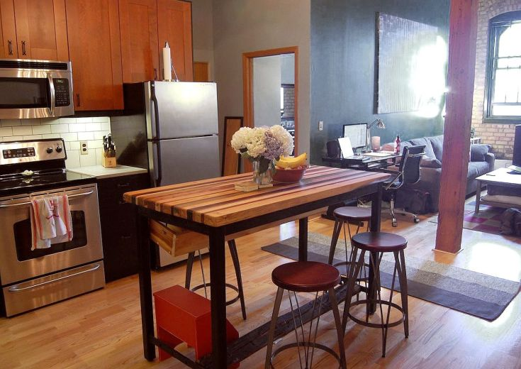 buy a hand crafted butcher block kitchen island with industrial base