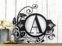 Buy a Hand Made Monogram Metal Wall Art | Custom Sign ...