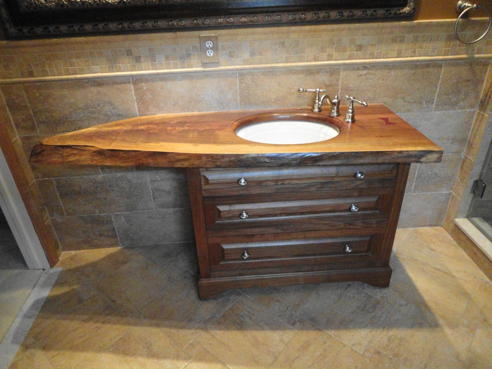 Custom Slab Top Walnut Vanity by Oak Mountain Custom