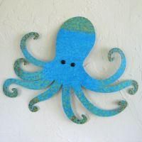 Custom Handmade Upcycled Metal Blue Octopus Wall Art ...