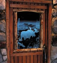 Handmade Illuminated Carved / Etched Glass - Moose Door by ...
