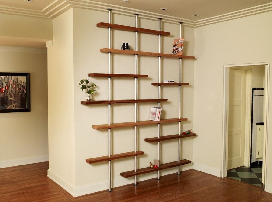Custom Oak And Aluminum Adjustable Shelving Unit by Anand