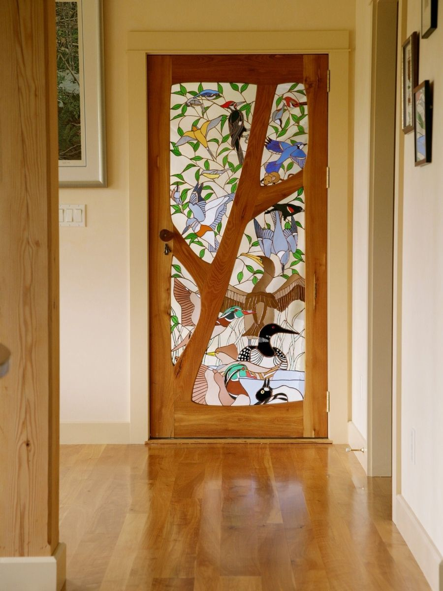 furniture kitchen pantry rustic outdoor custom stained glass door - birds by janet redfield ...