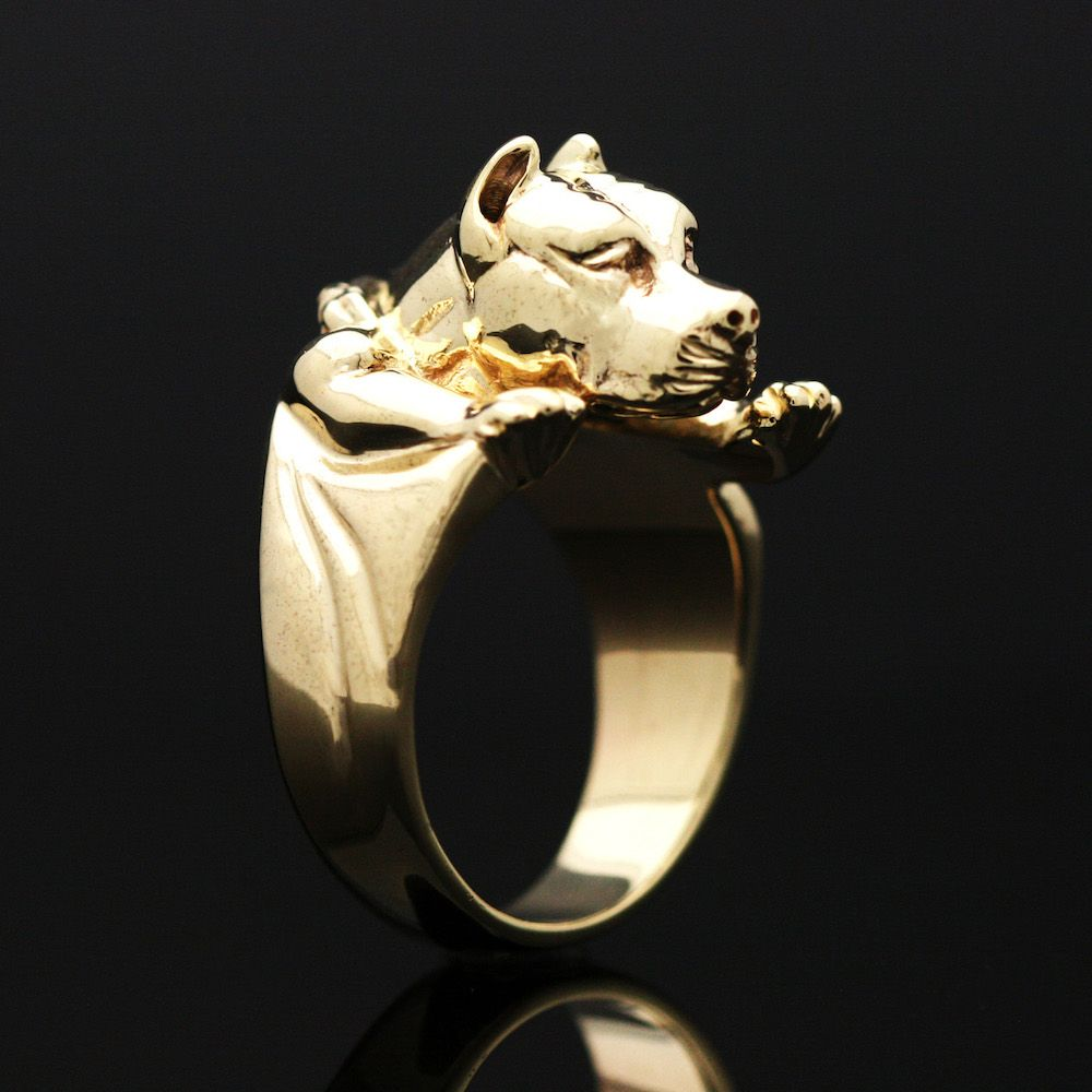Custom Yellow Gold Pitbull Ring By MAVA STYLE