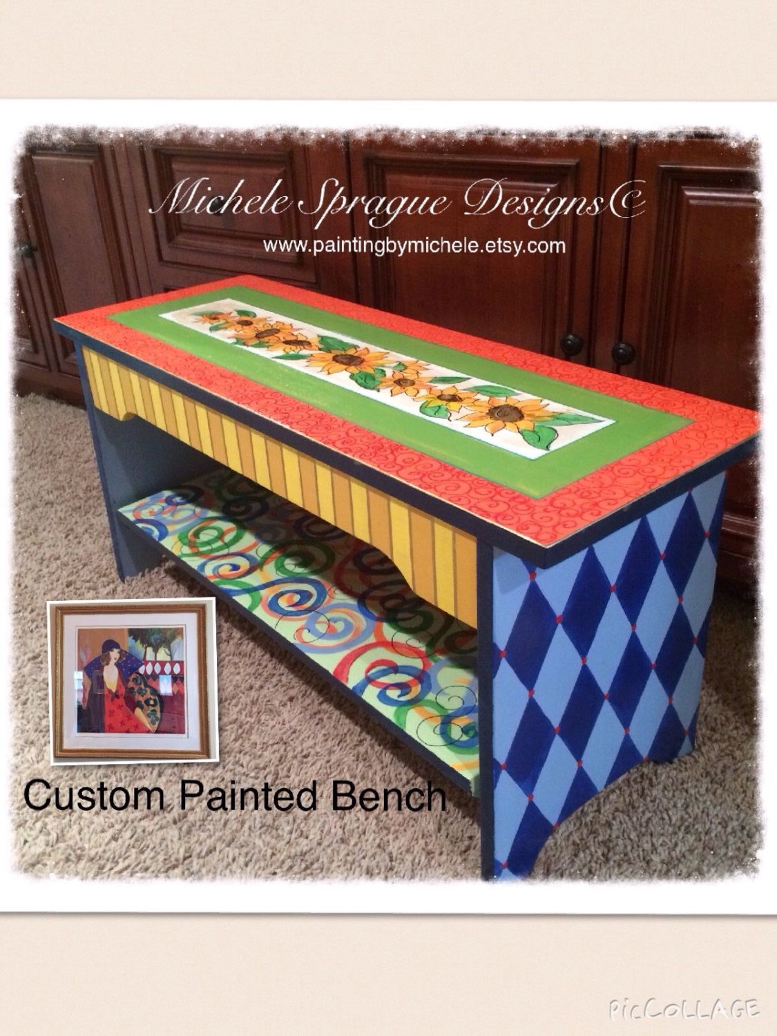Buy Handmade Custom Wood Bench Hand Painted Whimsical