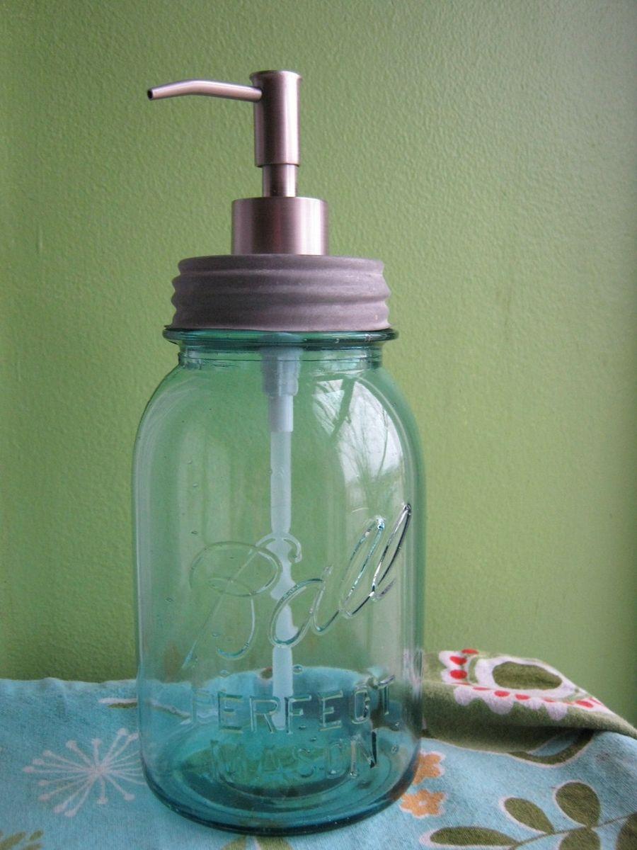 Custom Blue Mason Ball Quart Jar Upcycled Soap Dispenser by Found Beauty Studio  CustomMadecom