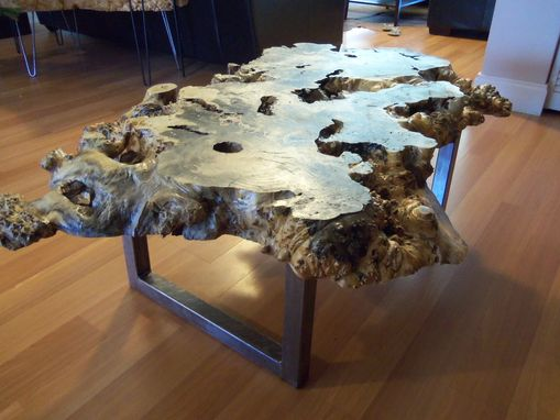 Hand Crafted Live Edge Buckeye Burl Table With Square