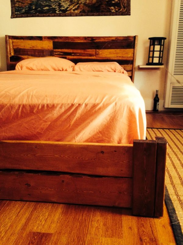 Hand Reclaimed Rustic Bed Frame With Floating