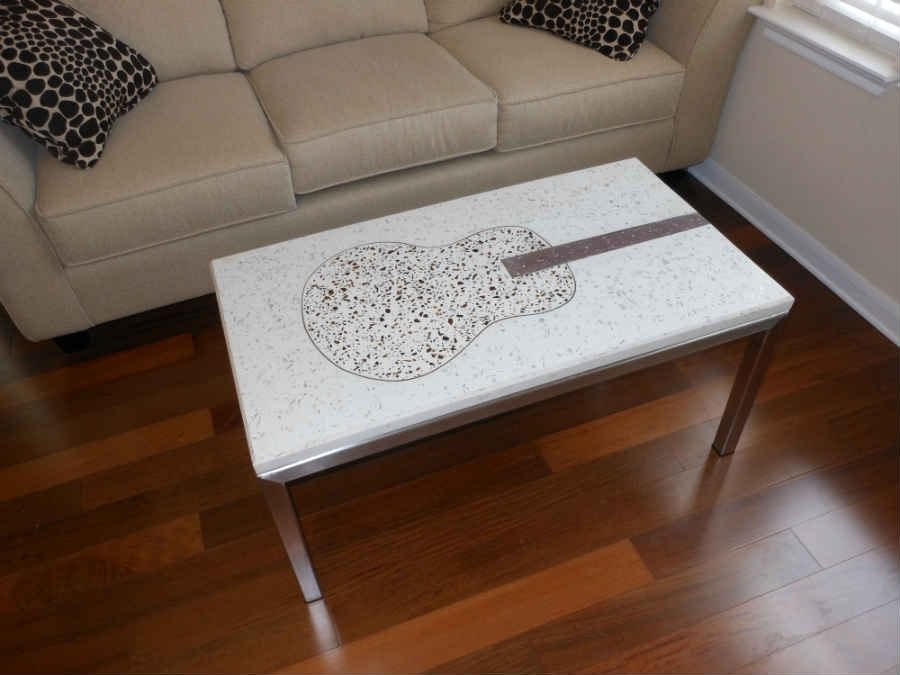 coffee table living room design pink couches hand crafted guitar in concrete by ...