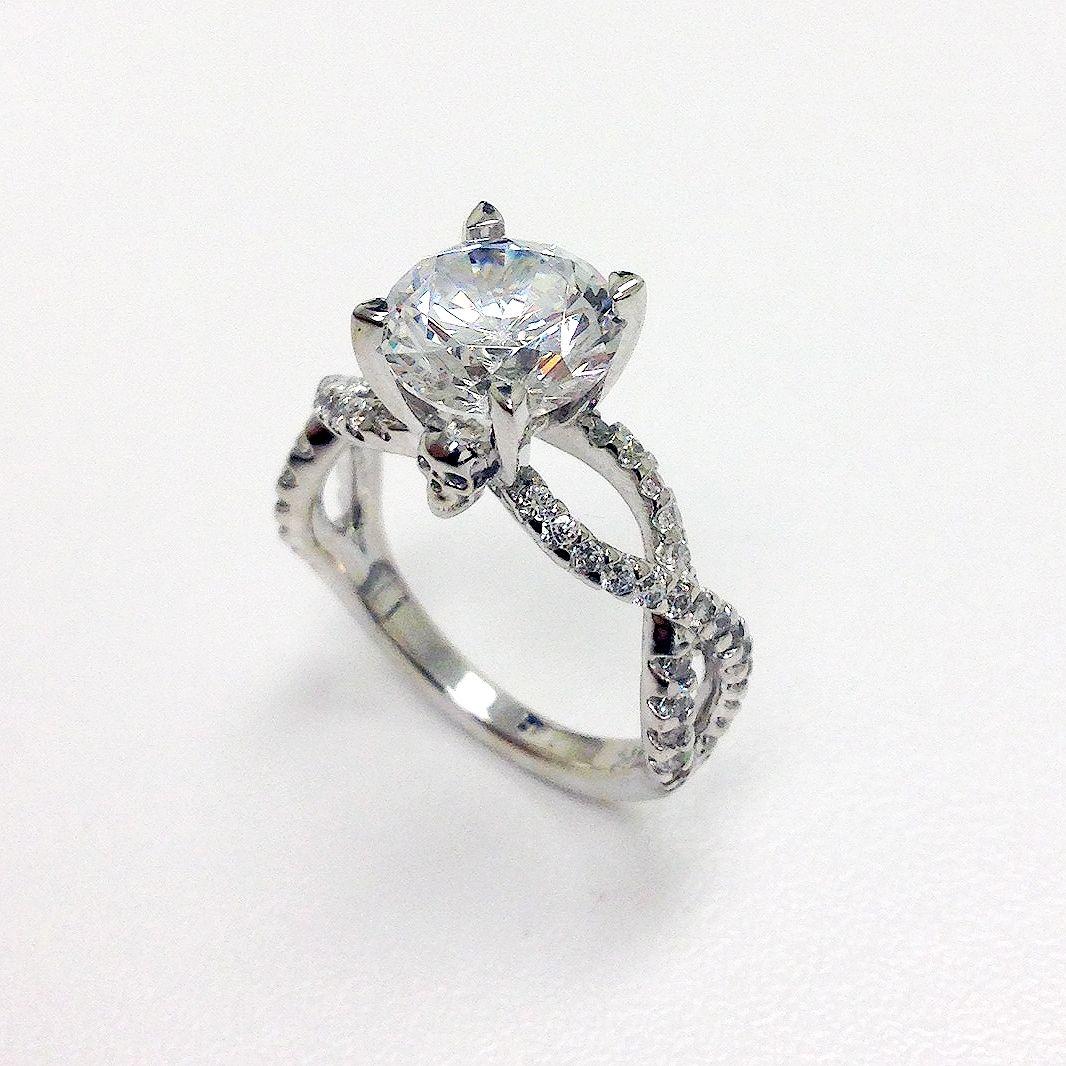 Handmade Skull Head Engagement  Wedding Ring by