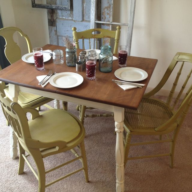 small kitchen table and chairs set outdoor dining chair cushions of 4 hand crafted vintage with four miss matched by hip decor distressed painted furniture custommade com