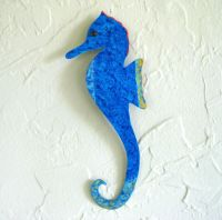 Hand Crafted Handmade Upcycled Metal Blue Seahorse Wall ...