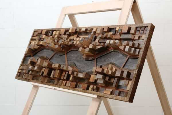 Custom Wood Wall Art Of River Cityscape