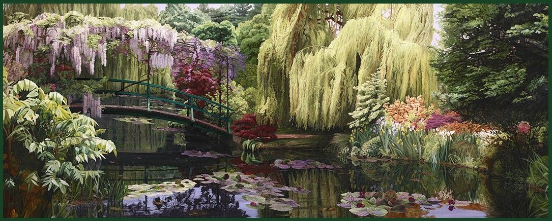 Hand Made Garden Painting Weeping Willow Serenade By