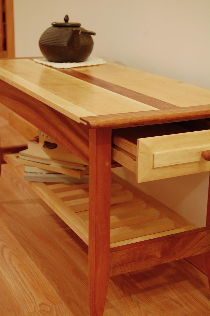 Handmade Two Drawer Mahogany And Maple Coffee Table With