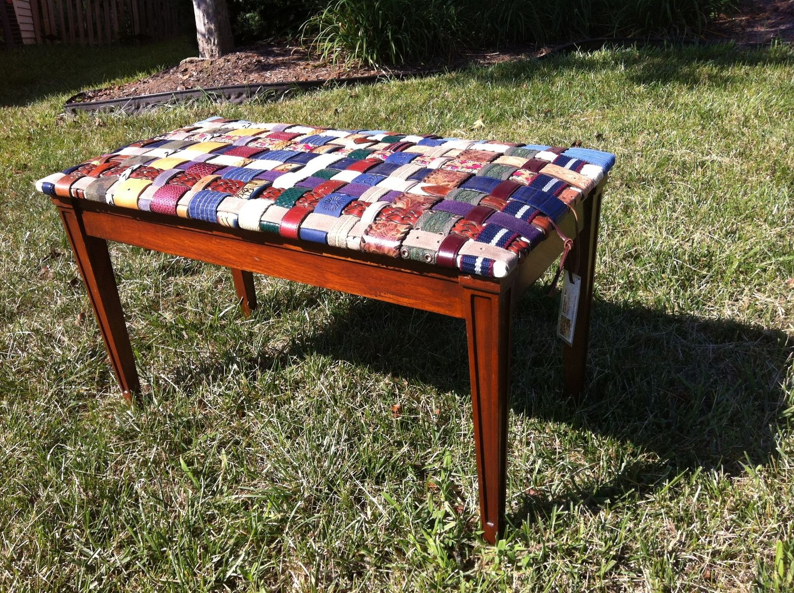 diy leather belt chair cigar lounge chairs handmade piano bench covered with woven recycled