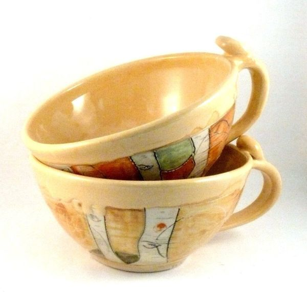 Custom Two Soup Mugs Large Latte Cups Teacups Bowl With Handle Blue Sky Pottery