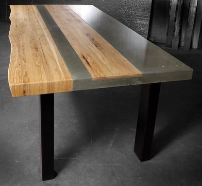 Hand Made Concrete Wood  Steel Dining Kitchen Table by
