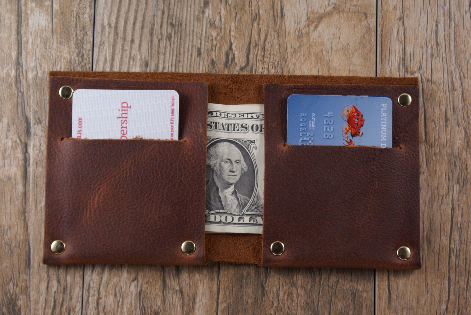 Hand Made The Full Riveted Minimalist Wallet Card Holder