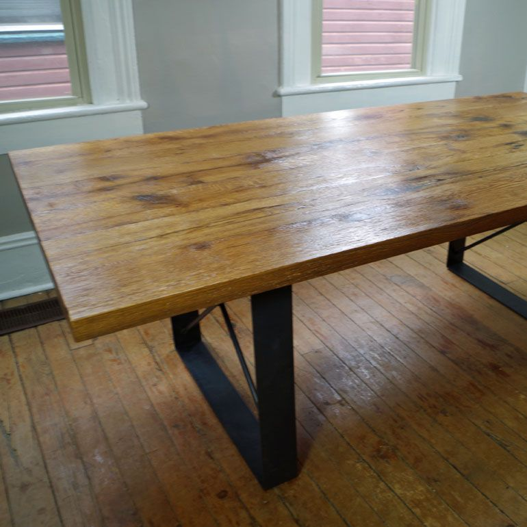 Hand Made Rustic Harvest Dining Table Oak With Metal Legs