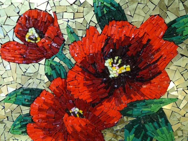 Mosaic Wall Art Red Flowers