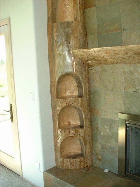 Custom Carved Pine Log Fireplace Mantel by Sheridan Woodworking Llc  CustomMadecom