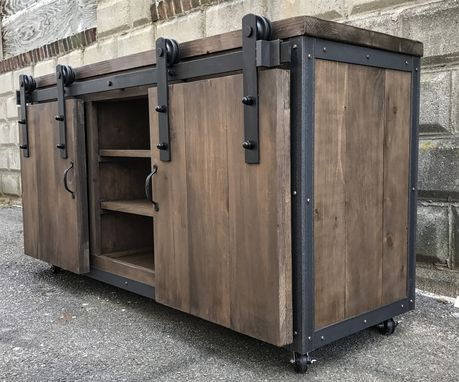 Hand Crafted Rustic Industrial Barn Board Media Stand W Sliding Doors 55 By The Crabby Lion