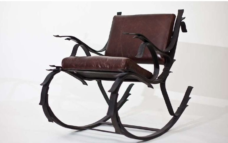 mid century modern rocking chair pool chairs hand made steel and leather leaf spring by iron mountain forge & furniture ...